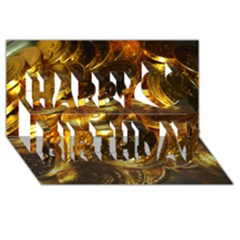 Gold Coins 1 Happy Birthday 3d Greeting Card (8x4)