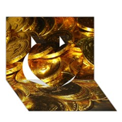 Gold Coins 1 Heart 3d Greeting Card (7x5)