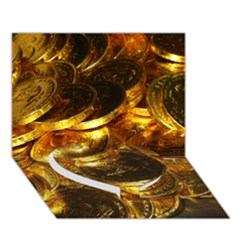 GOLD COINS 1 Heart Bottom 3D Greeting Card (7x5)