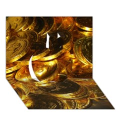 Gold Coins 1 Apple 3d Greeting Card (7x5)