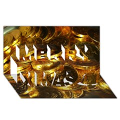 Gold Coins 1 Merry Xmas 3d Greeting Card (8x4)