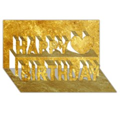 Gold Happy Birthday 3d Greeting Card (8x4)