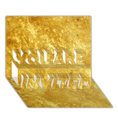 GOLD YOU ARE INVITED 3D Greeting Card (7x5)