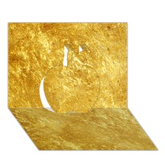 Gold Apple 3d Greeting Card (7x5)