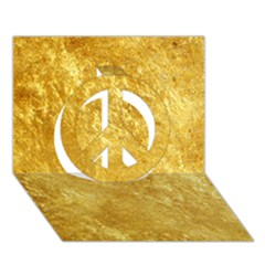 GOLD Peace Sign 3D Greeting Card (7x5)