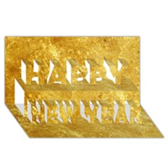GOLD Happy New Year 3D Greeting Card (8x4)