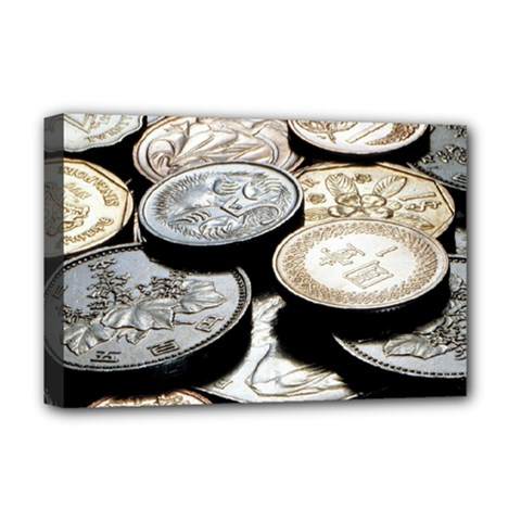 FOREIGN COINS Deluxe Canvas 18  x 12