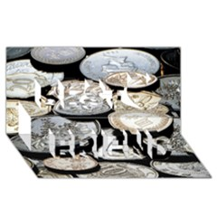 Foreign Coins Best Friends 3d Greeting Card (8x4)