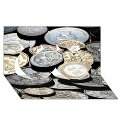 Foreign Coins Twin Hearts 3d Greeting Card (8x4)