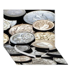 FOREIGN COINS Heart Bottom 3D Greeting Card (7x5)