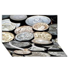 Foreign Coins Twin Heart Bottom 3d Greeting Card (8x4)