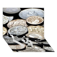 Foreign Coins Love Bottom 3d Greeting Card (7x5)