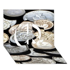 Foreign Coins Peace Sign 3d Greeting Card (7x5)