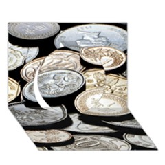Foreign Coins Circle 3d Greeting Card (7x5)
