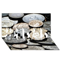 Foreign Coins #1 Dad 3d Greeting Card (8x4)