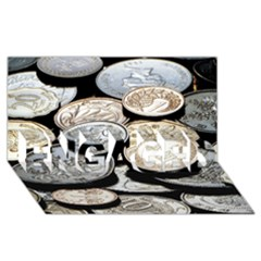Foreign Coins Engaged 3d Greeting Card (8x4)