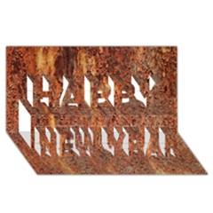 Flaky Rusting Metal Happy New Year 3d Greeting Card (8x4)