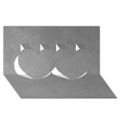 Grey Suede Twin Hearts 3d Greeting Card (8x4)