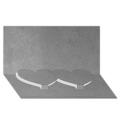 Grey Suede Twin Heart Bottom 3d Greeting Card (8x4)