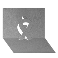 Grey Suede Ribbon 3d Greeting Card (7x5)