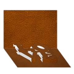 Brown Leather Love Bottom 3d Greeting Card (7x5)