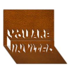 BROWN LEATHER YOU ARE INVITED 3D Greeting Card (7x5)