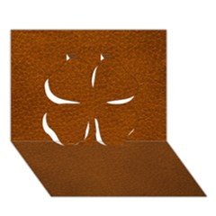Brown Leather Clover 3d Greeting Card (7x5)
