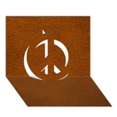 BROWN LEATHER Peace Sign 3D Greeting Card (7x5)