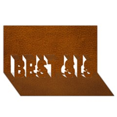 Brown Leather Best Sis 3d Greeting Card (8x4)