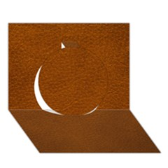 Brown Leather Circle 3d Greeting Card (7x5)