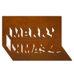 Brown Leather Merry Xmas 3d Greeting Card (8x4)