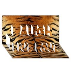 Tiger Fur Laugh Live Love 3d Greeting Card (8x4)