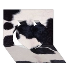 Spotted Cow Hide Heart 3d Greeting Card (7x5)