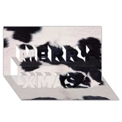 Spotted Cow Hide Merry Xmas 3d Greeting Card (8x4)