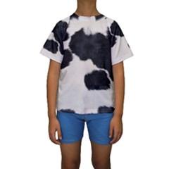 Spotted Cow Hide Kid s Short Sleeve Swimwear