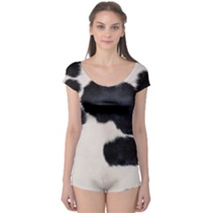 SPOTTED COW HIDE Short Sleeve Leotard