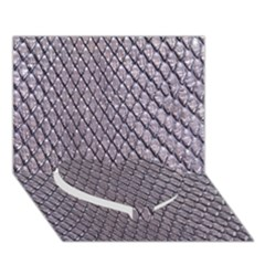 SILVER SNAKE SKIN Heart Bottom 3D Greeting Card (7x5)