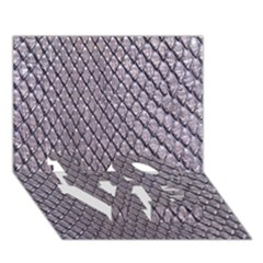 Silver Snake Skin Love Bottom 3d Greeting Card (7x5)