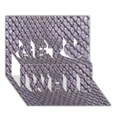 Silver Snake Skin Get Well 3d Greeting Card (7x5)