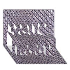 Silver Snake Skin You Rock 3d Greeting Card (7x5)
