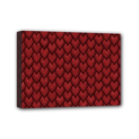 RED REPTILE SKIN Mini Canvas 7  x 5