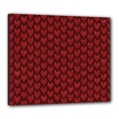 RED REPTILE SKIN Canvas 24  x 20