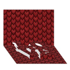 Red Reptile Skin Love Bottom 3d Greeting Card (7x5)
