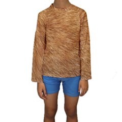 Light Brown Fur Kid s Long Sleeve Swimwear