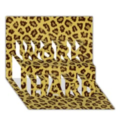 Leopard Fur Work Hard 3d Greeting Card (7x5)