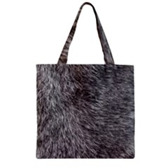 GREY WOLF FUR Zipper Grocery Tote Bags