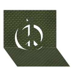 GREEN REPTILE SKIN Peace Sign 3D Greeting Card (7x5)