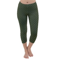 GREEN REPTILE SKIN Capri Winter Leggings