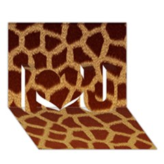 Giraffe Hide I Love You 3d Greeting Card (7x5)