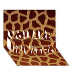 GIRAFFE HIDE YOU ARE INVITED 3D Greeting Card (7x5)